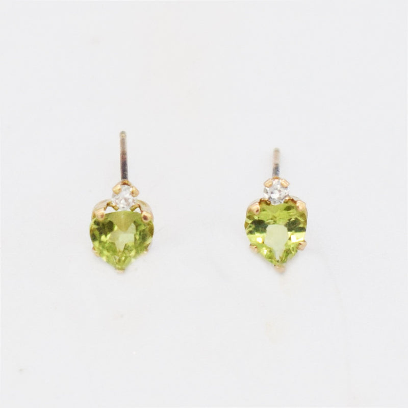 10k Yellow Gold Estate Peridot & CZ Heart Post Earrings