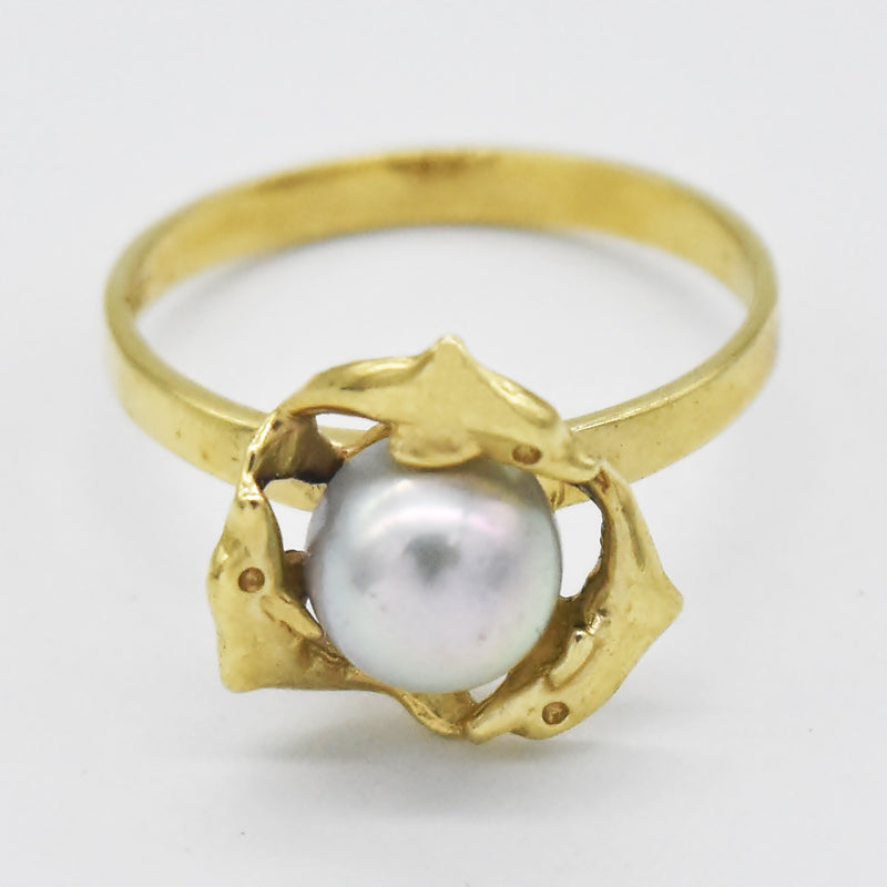 14k Yellow Gold Estate Swimming Dolphin Pearl Ring Size 6