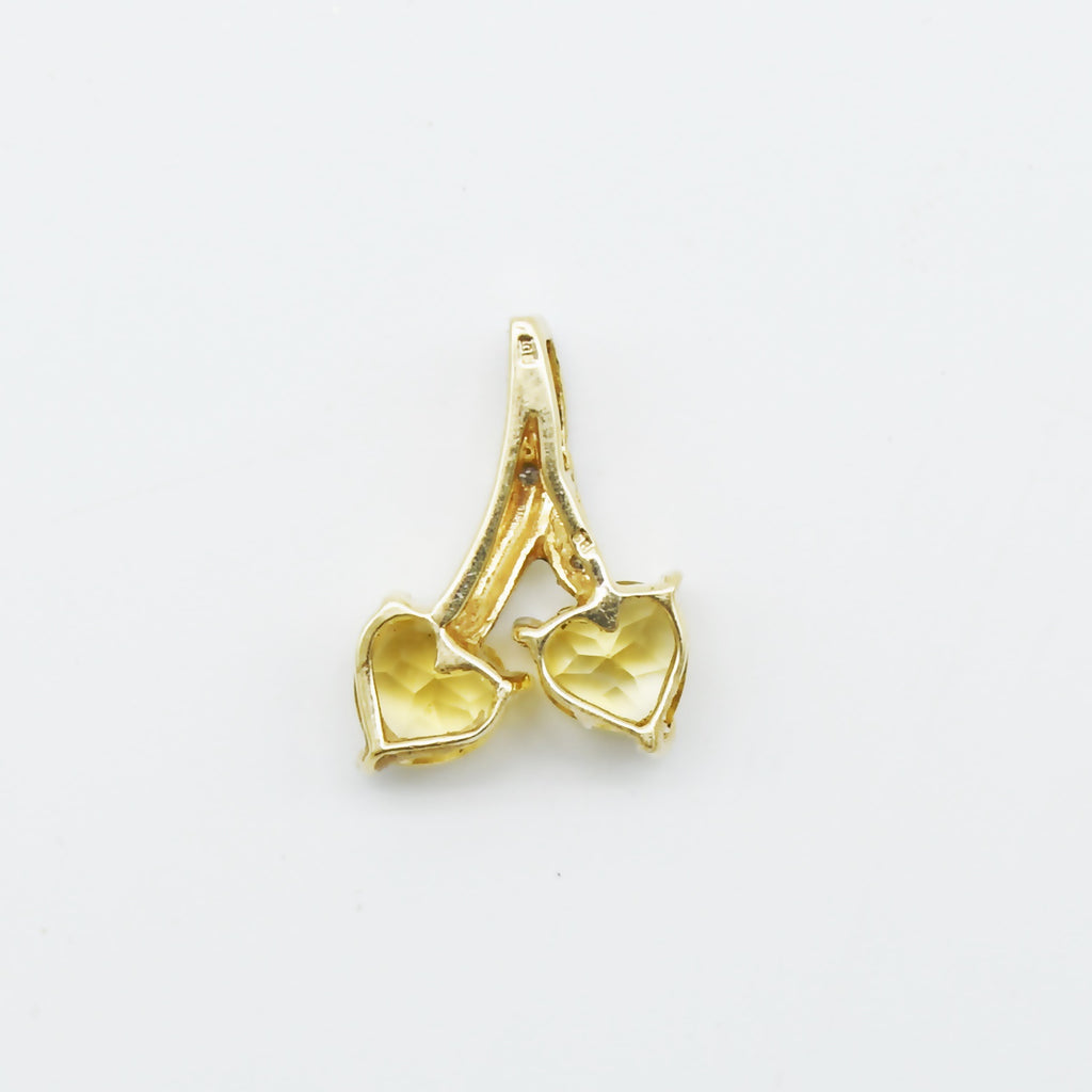 10k Yellow Gold Estate Citrine & Diamond Double Heart Pendant