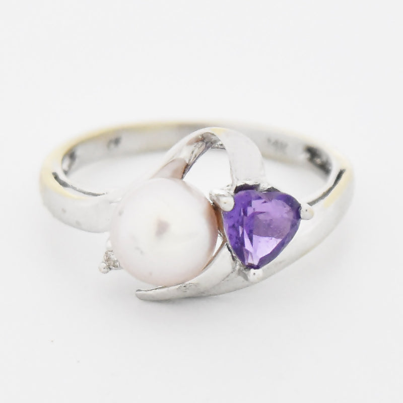 14k White Gold Estate Swirl Pearl Diamond & Amethyst Ring Size 7