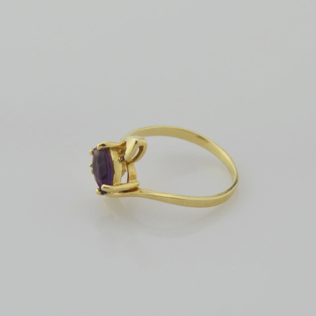 14k Yellow Gold Estate Amethyst & Diamond Ring Size 6.25