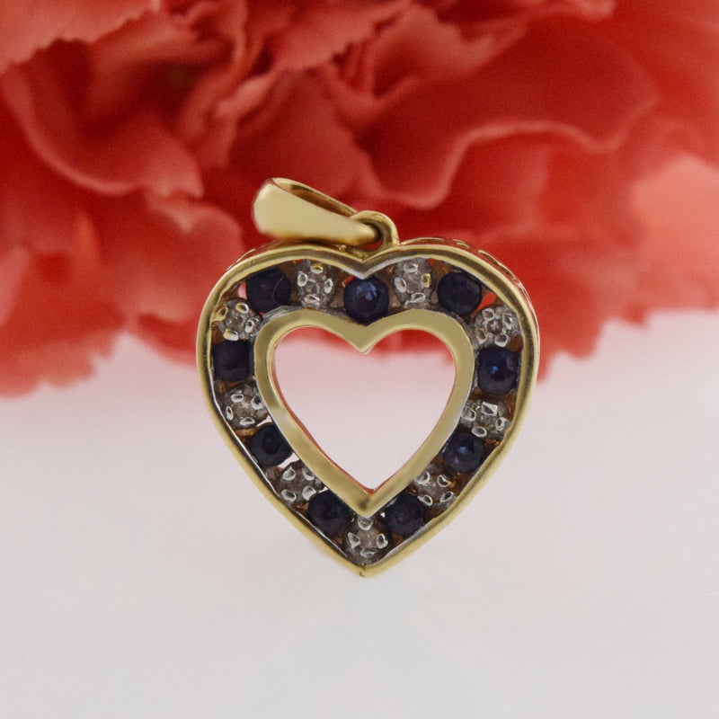10k Yellow Gold Estate Open Heart Sapphire & Diamond Pendant