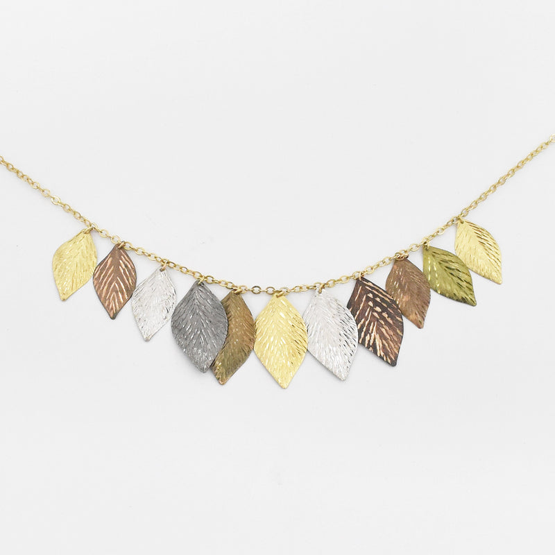 14k Tri Color Gold Designer Black Hills Gold Dangle Leaf Necklace 18""