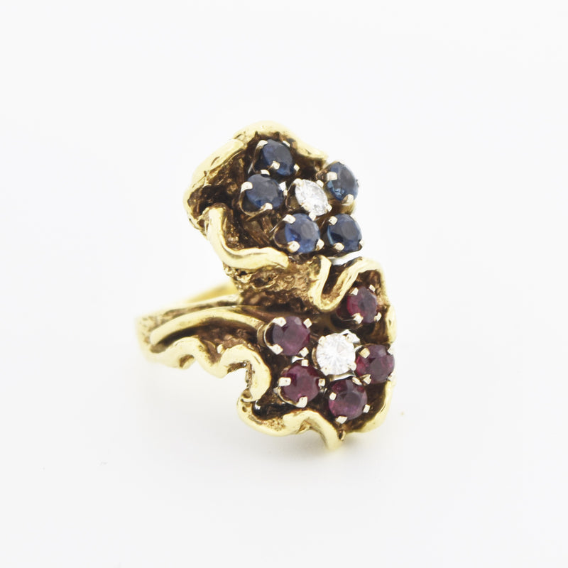 14k Yellow Gold Diamond Sapphire Ruby Carved Flower Ring Size 2.75