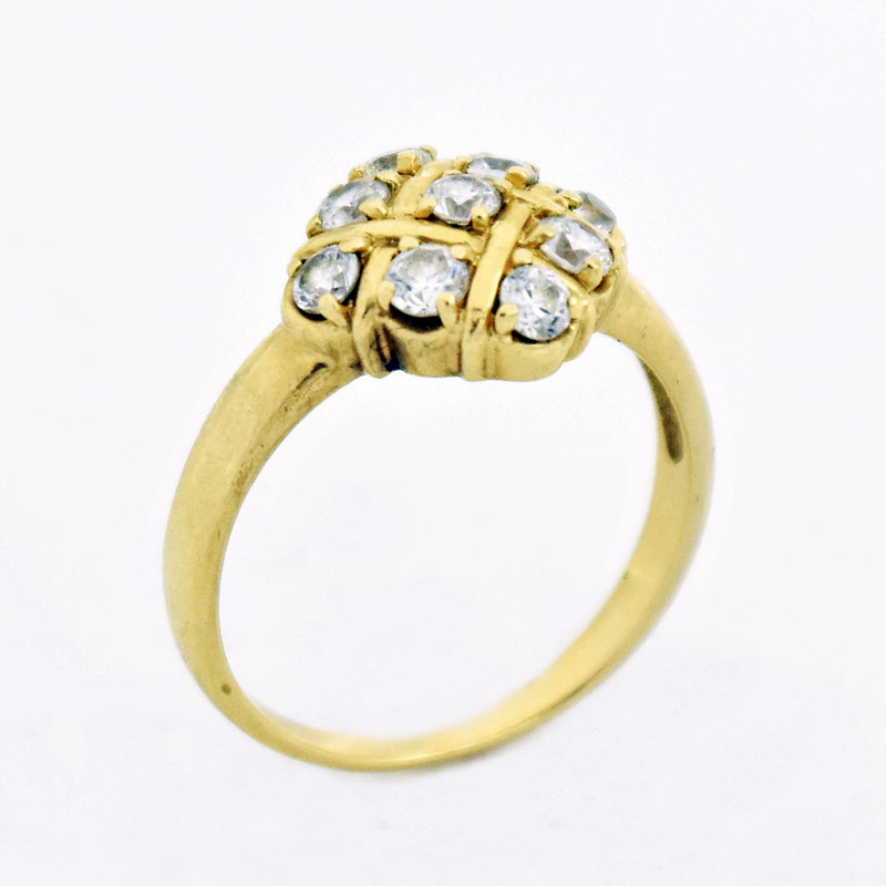 14k Yellow Gold Estate CZ Cluster Ring Size 9