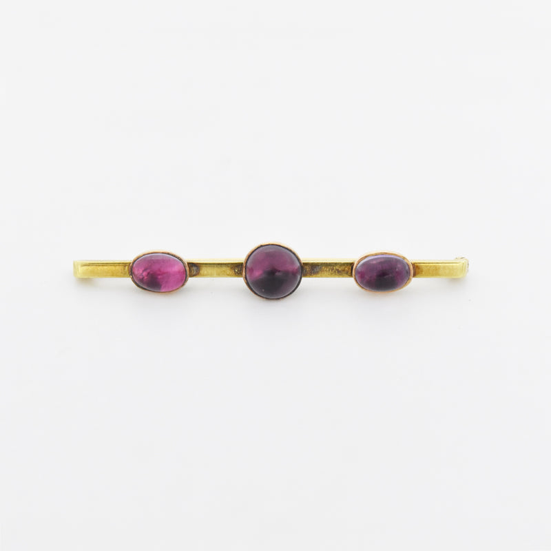 14k Yellow Gold Antique 3 Stone Cabochon Amethyst Bar Pin