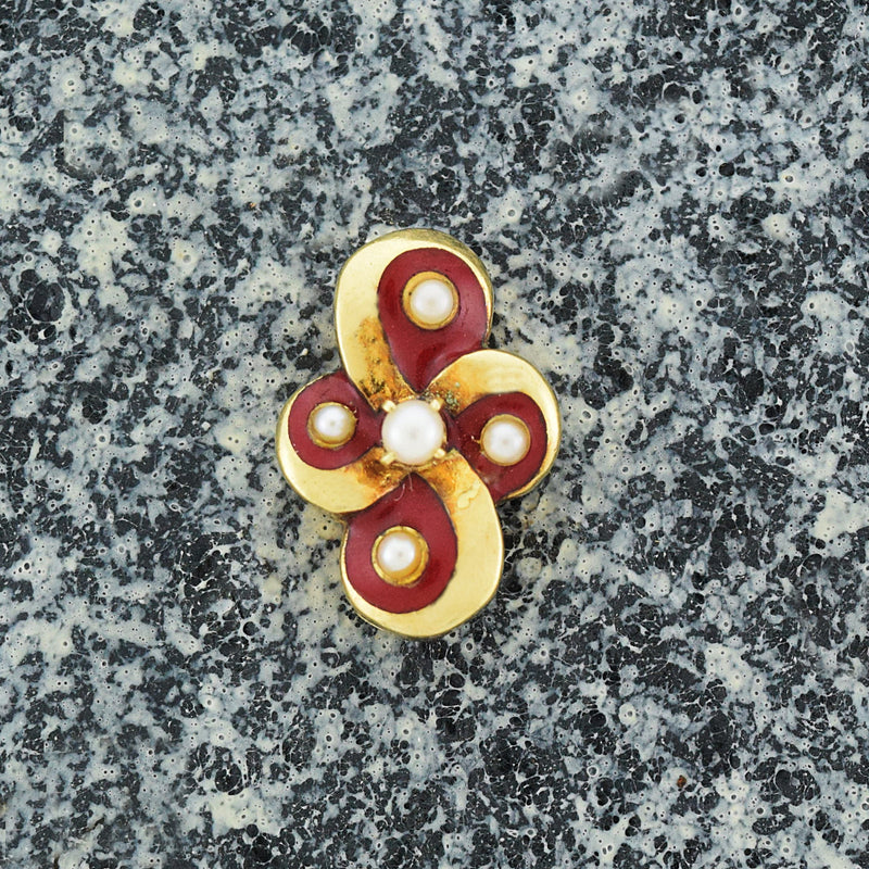 14k Yellow Gold Antique Red Enamel 2.6 mm Pearl Swirl Slide