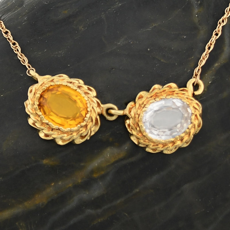 "14k YG Double Rolo Yellow Sapphire & Quartz Necklace 19 1/2"" Long"
