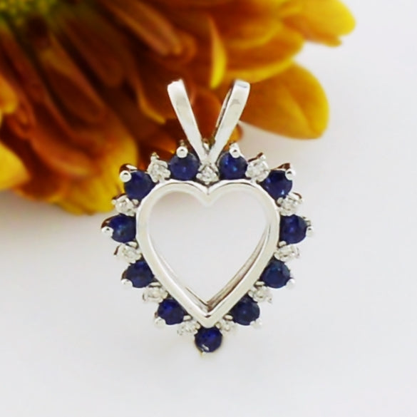 10k White Gold Estate Diamond & Sapphire Heart Pendant