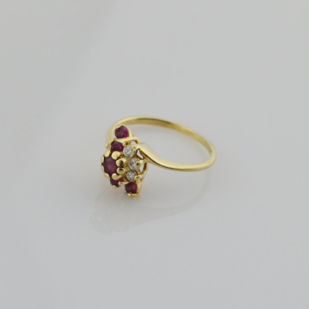 14k Yellow Gold Vintage Ruby & Diamond Multistone Ring Size 5