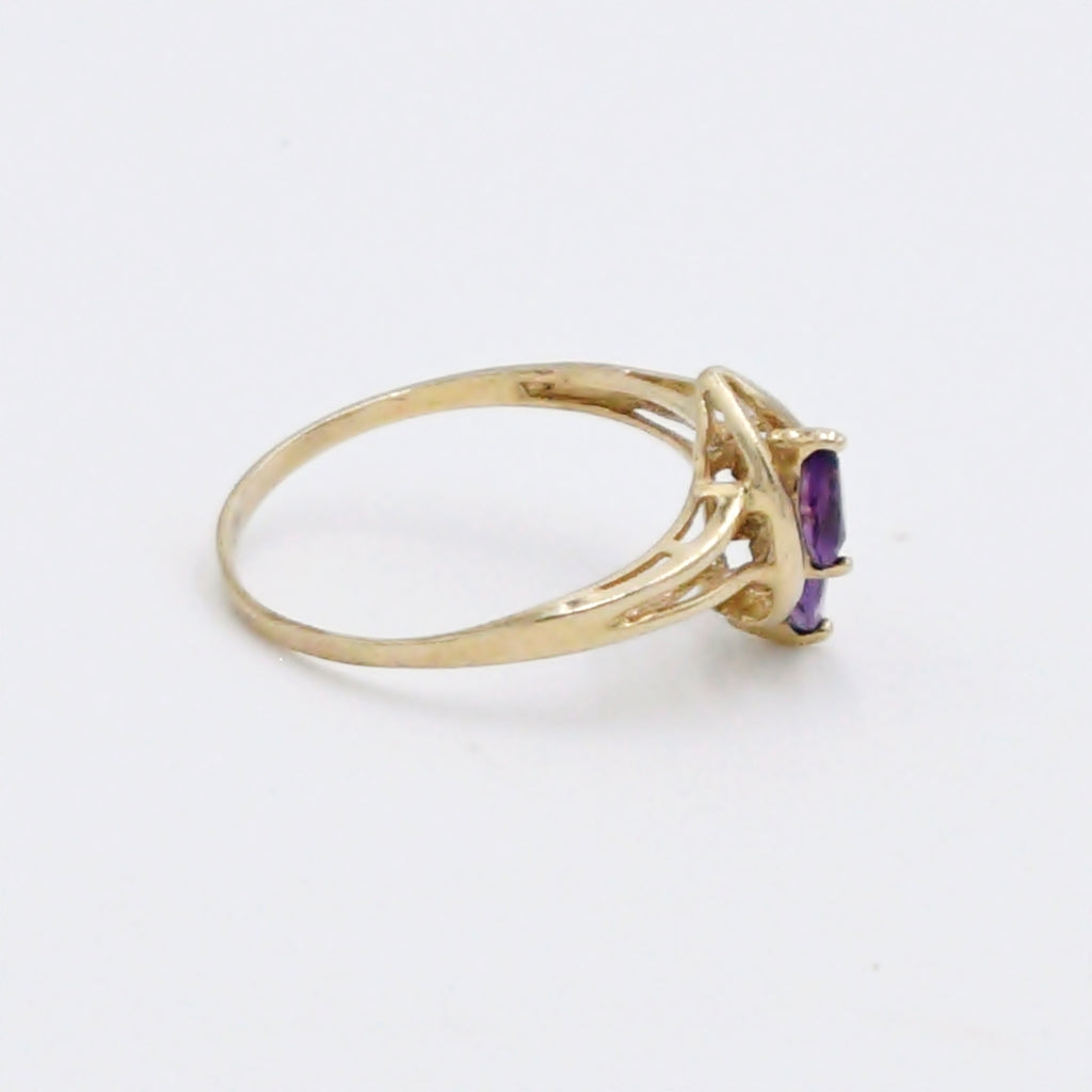 10k Yellow Gold Estate Double Amethyst & Diamond Ring Size 8