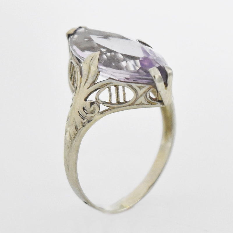 14k White Gold Vintage Filigree Amethyst Ring Size 4.5