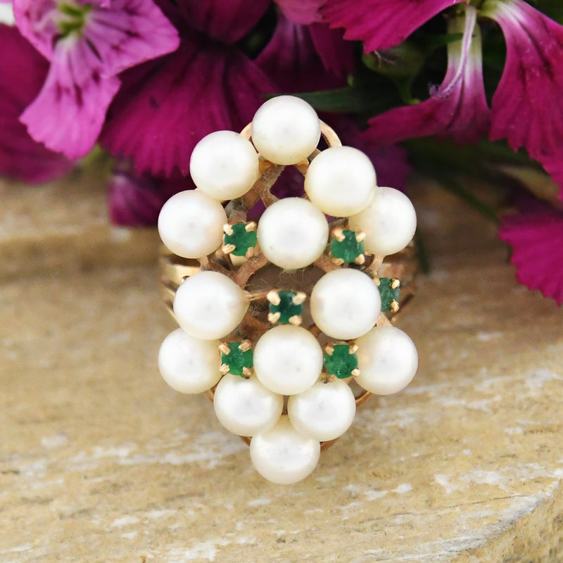 14k Yellow Gold Vintage Multi Pearl & Emerald Cocktail Ring Size 6