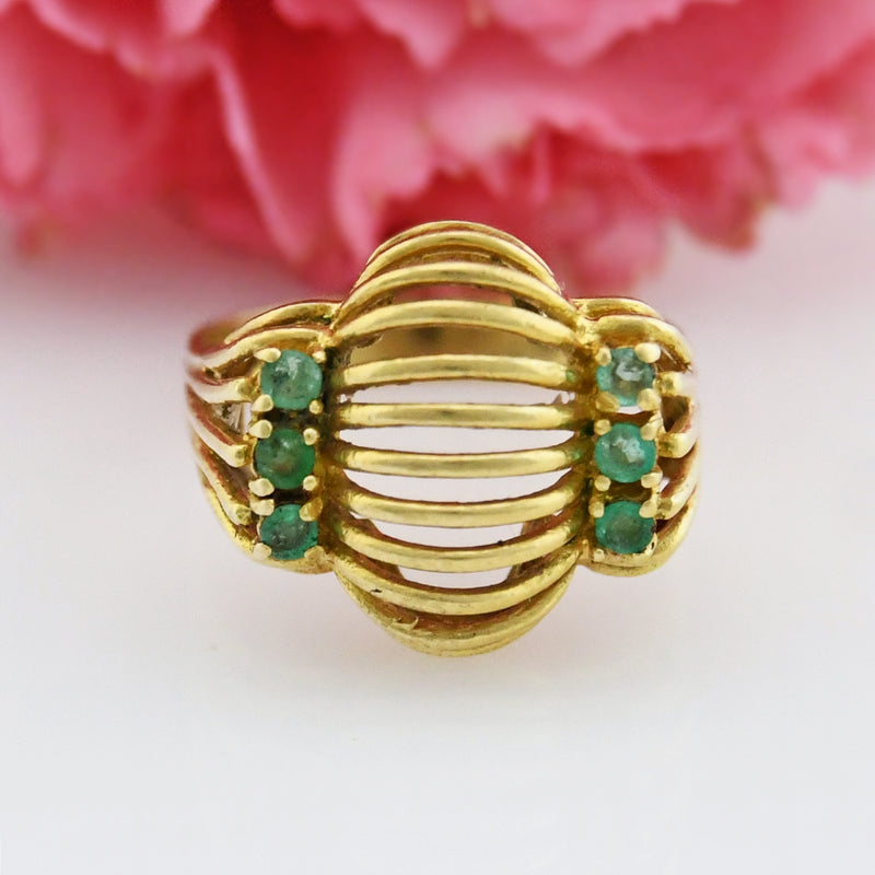 18k Yellow Gold Estate Open Wire Design Emerald Ring Size 6.5