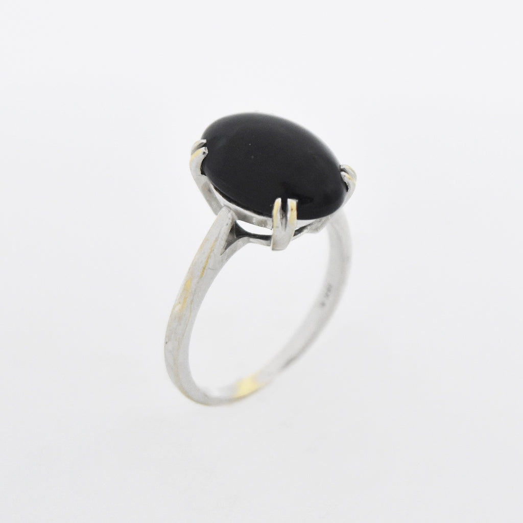 14k White Gold Vintage Oval Black Onyx Ring Size 6.75