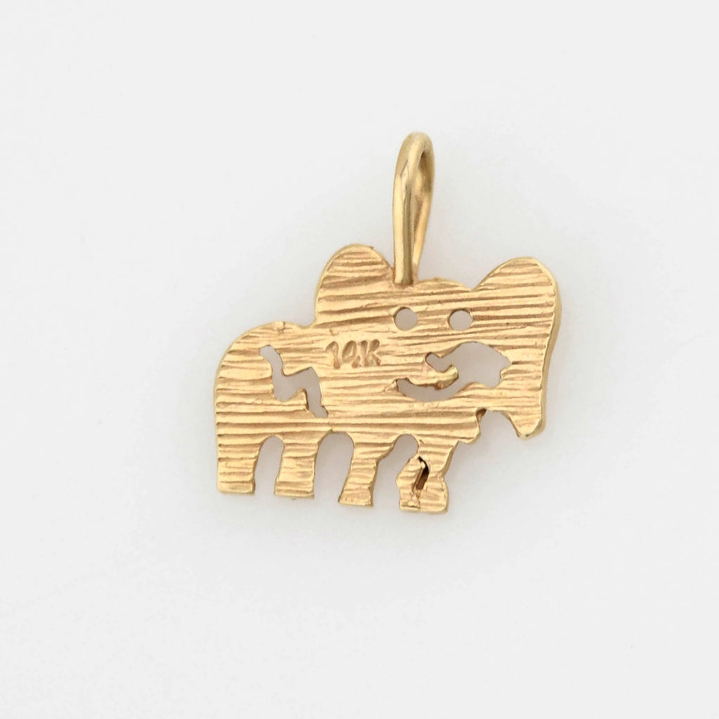 14k Yellow Gold Estate Diamond Cut Elephant Animal Charm/Pendant