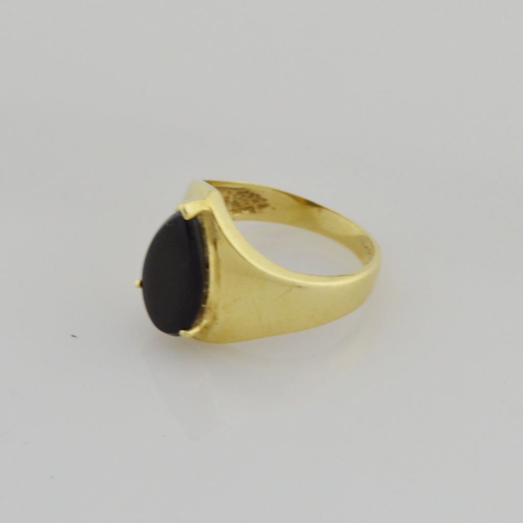 14k Yellow Gold Estate Teardrop Onyx Solitaire Ring Size 6.25