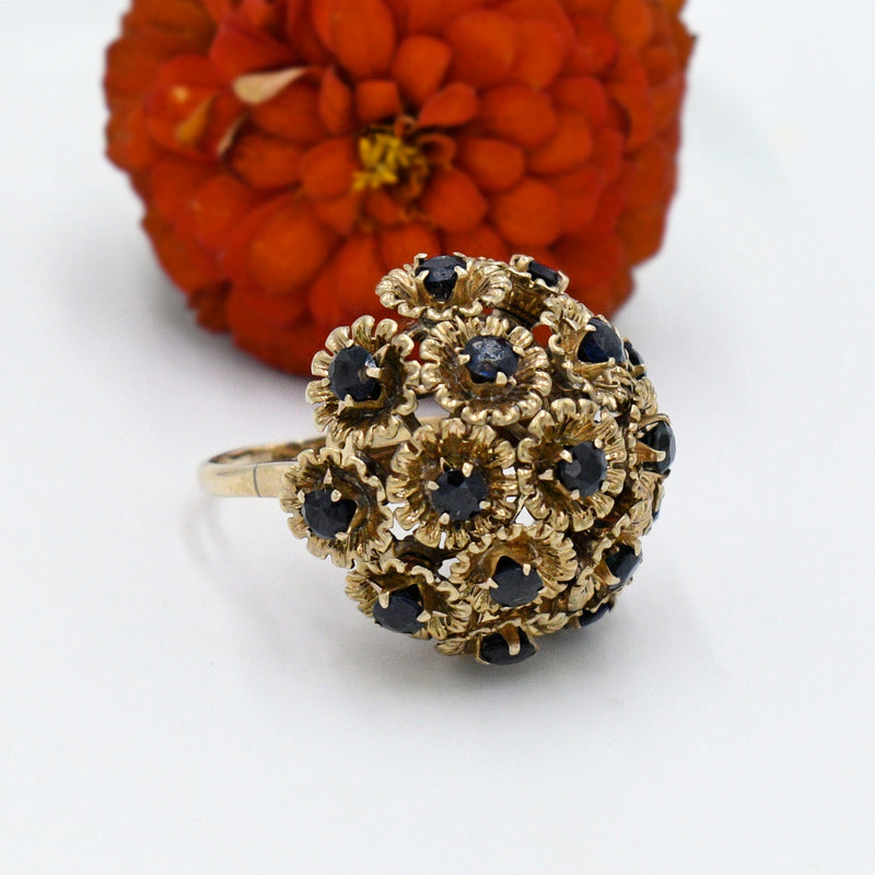 10k Yellow Gold Vintage Sapphire Tremble Flower Ring Size 8.25