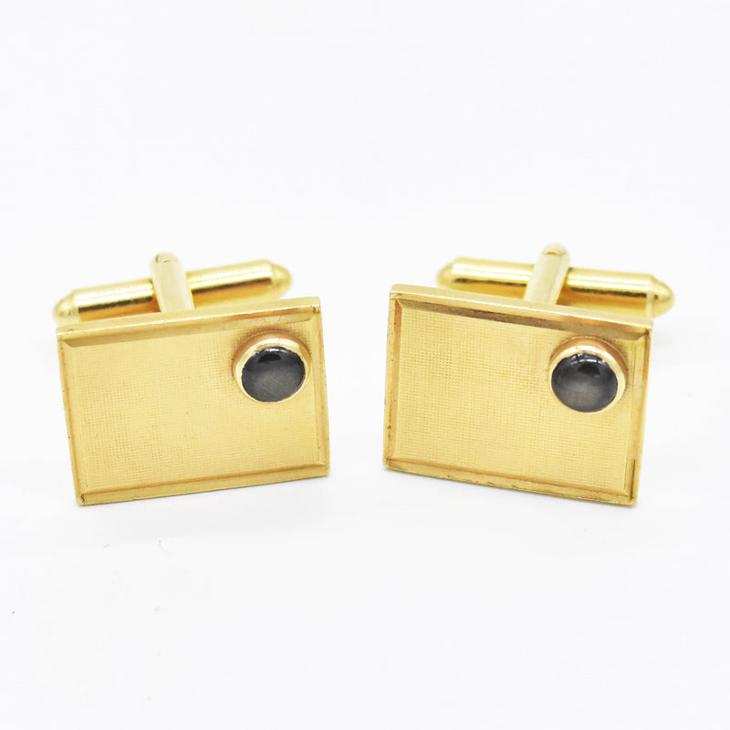 14k Yellow Gold Estate Black Star Sapphire Cufflinks