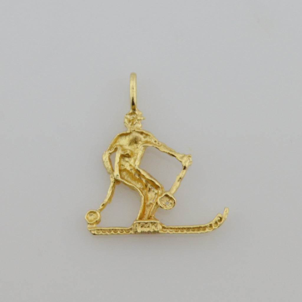 14k Yellow Gold Estate Textured Skier/Cross Country Pendant