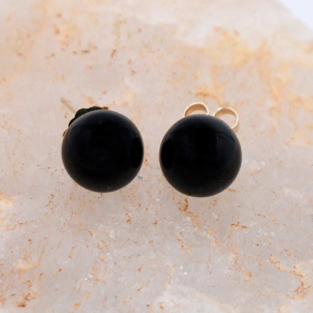 14k Yellow Gold Estate Black Jet 8 mm Ball Gemstone Post Earrings