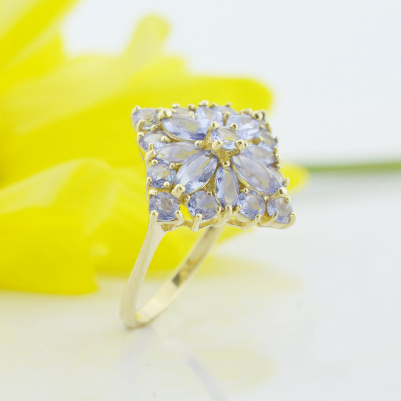 14k Yellow Gold Estate Cocktail Tanzanite Ring Size 8