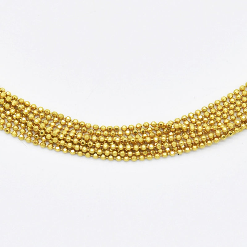 "14k Yellow Gold Estate Multi Strand 16"" Length Ball Necklace"