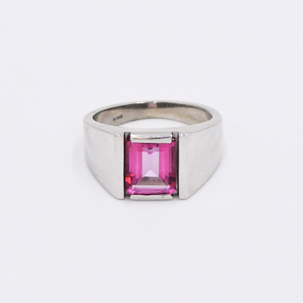 14k White Gold Estate Emerald Cut Pink Topaz Gemstone Ring Size 9.5