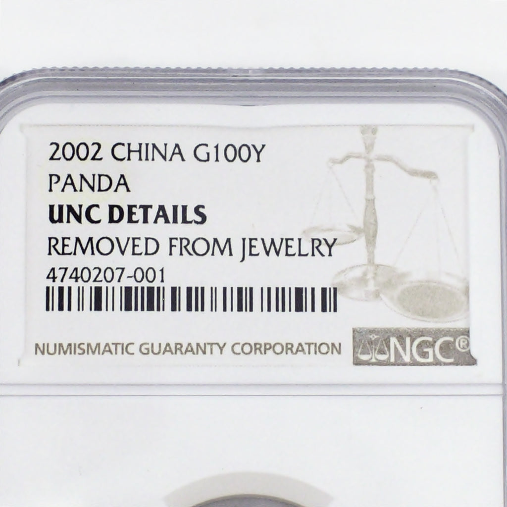 NGC 2002 Chinese G100Y Panda 1/4 oz Uncirculated Details 100 Yuan Coin