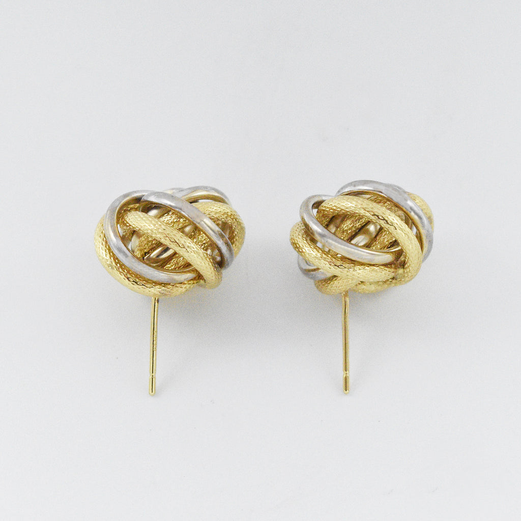 14k Yellow & White Gold Estate Love Knot Post Earrings