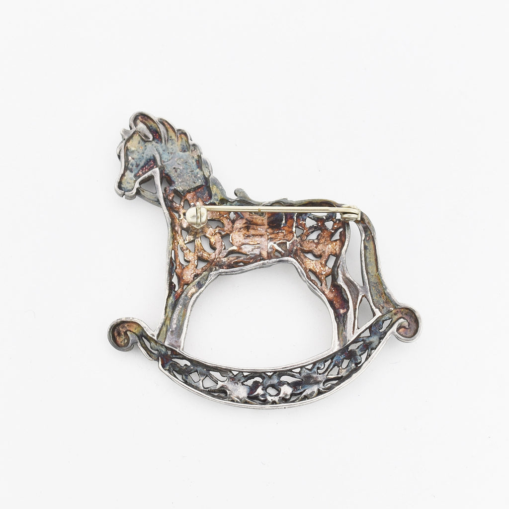 Sterling Silver 925 Estate Open Work Rocking Horse Pin/Brooch