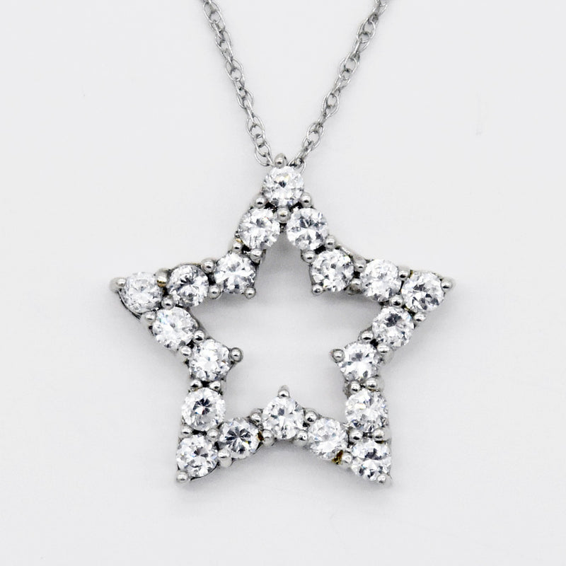 "10k White Gold Estate 18"" CZ Cubic Zirconia Star Necklace"