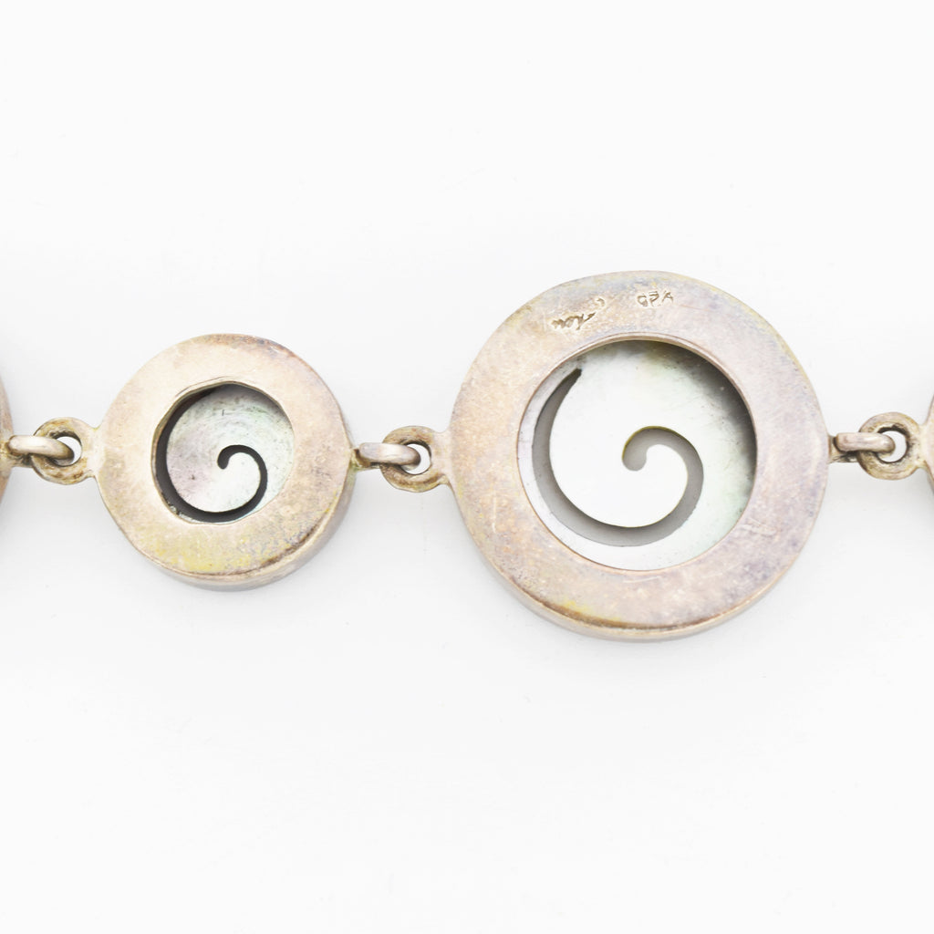 Sterling Silver Vintage Signed Circle Swirl Mother Of Pearl Bracelet