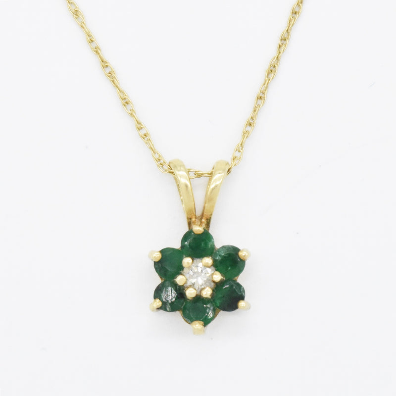 "14k Yellow Gold Estate 19"" Emerald & Diamond Flower Necklace"