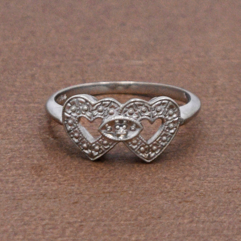 10k White Gold Estate Double Diamond Love/Heart Ring Size 7.25