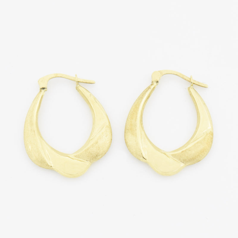 "10k Yellow Gold Estate Swirl Textured 1"" Hoop Earrings"