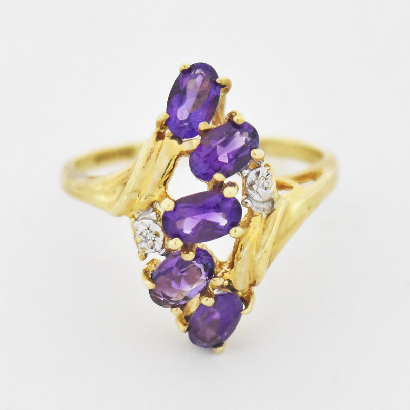 10k Yellow Gold Estate Amethyst & Diamond Ring Size 6.5