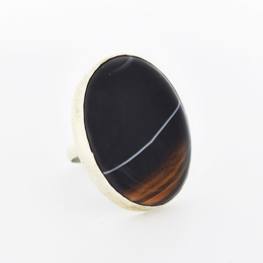 Sterling Silver 925 Estate Oval Black & White Banded Agate Ring Size 8