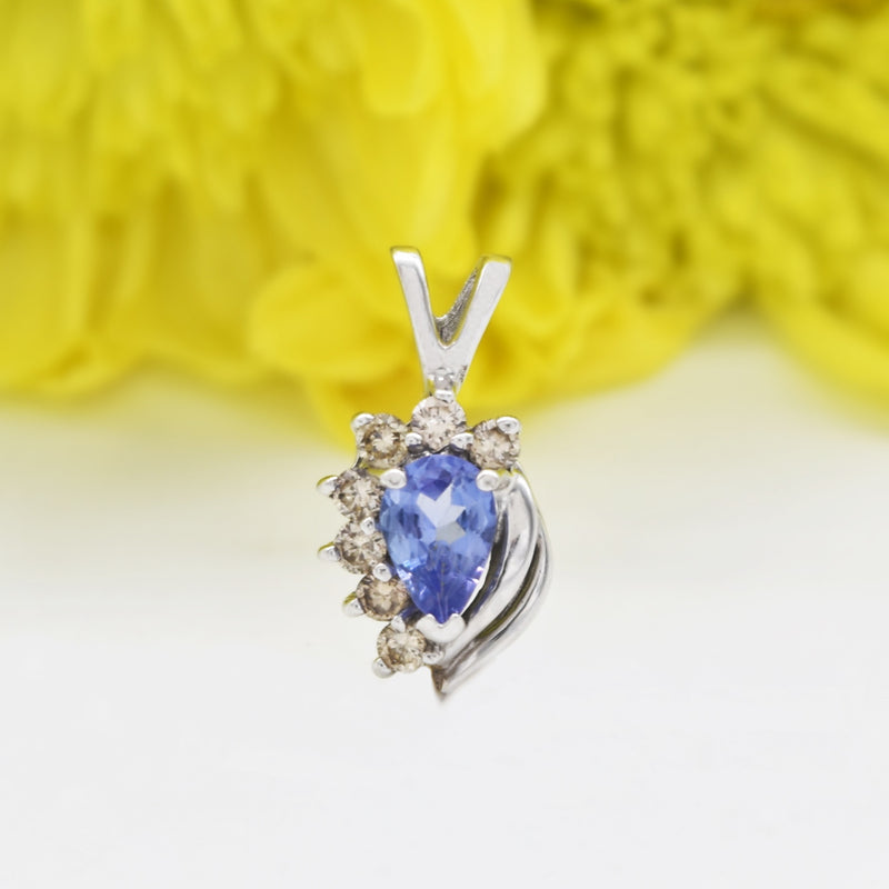 14k White Gold Estate Teardrop/Pear Tanzanite & Diamond Pendant