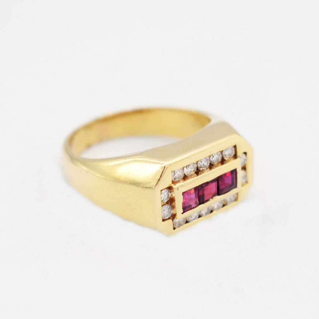 14k YG Vintage Rectangler Ruby & Diamond 0.42 tcw Ring Size 7.5