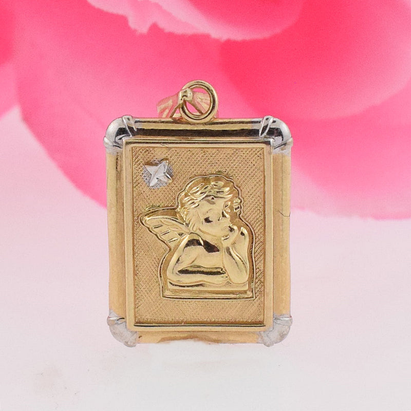 14k Yellow Gold Textured Framed Cupid Pendant