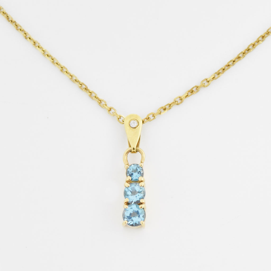 "14k Yellow Gold 16"" Rolo Link 3 Stone Blue Topaz & Diamond Necklace"
