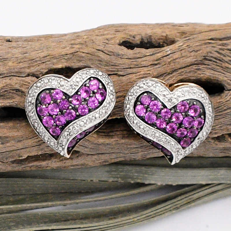 10k Yellow & White Gold Ruby And Diamond Heart/Love Post Earrings
