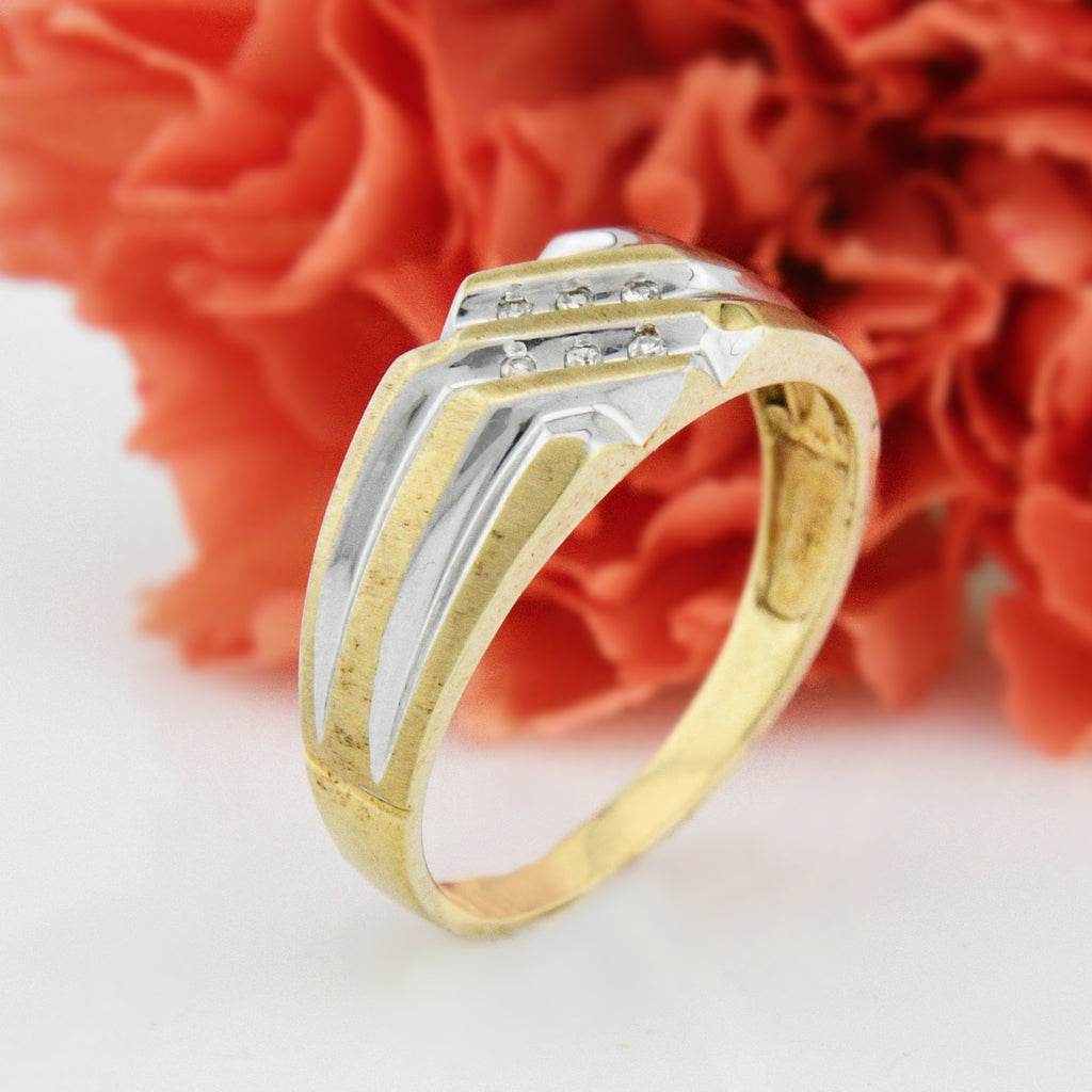 10k Yellow & White Gold Geometric Diamond Band/Ring Size 10.75