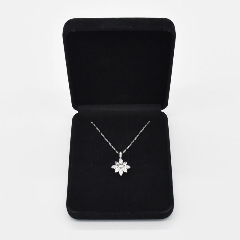 "Sterling Silver 925 Estate Diamonique Flower 18"" Necklace"