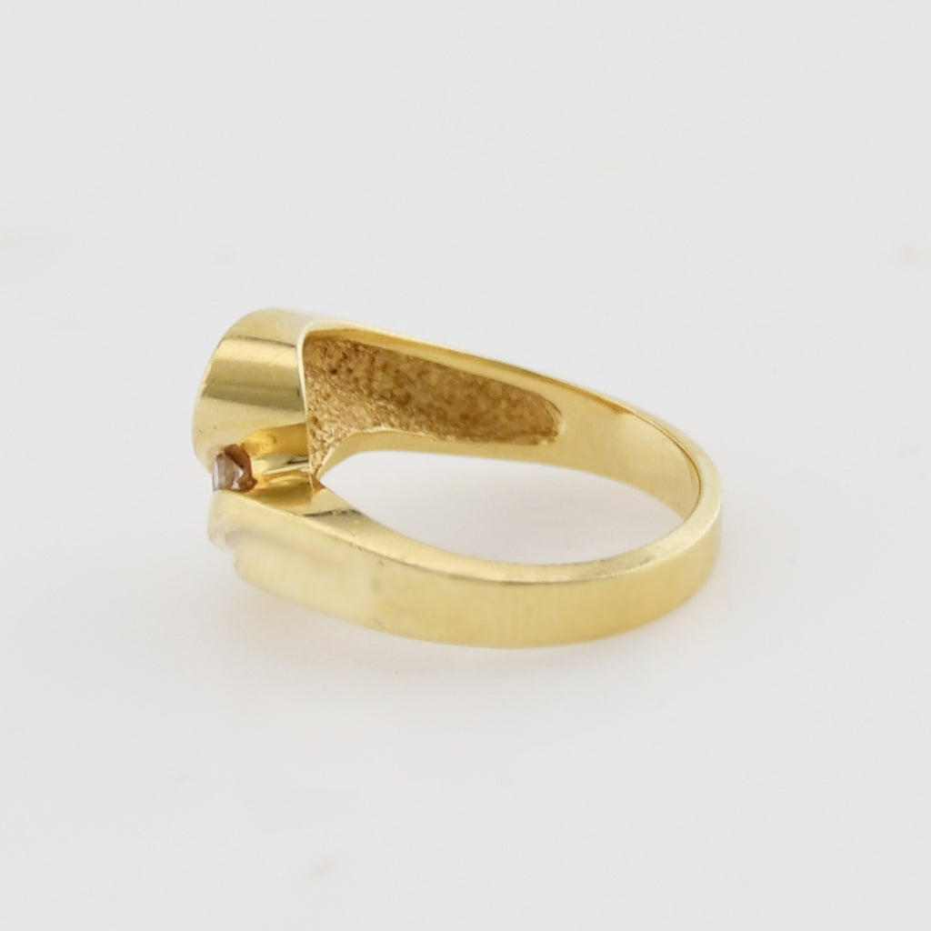 14k Yellow Gold Estate Swirl/Wave Diamond Ring Size 6.75