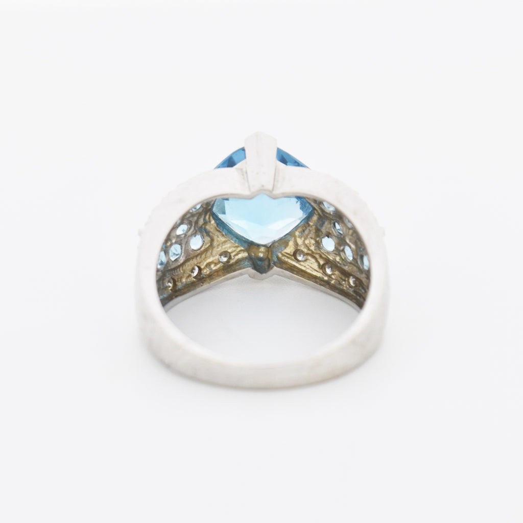 14k White Gold Fancy Blue Topaz & Diamond Cocktail Ring Size 8.5
