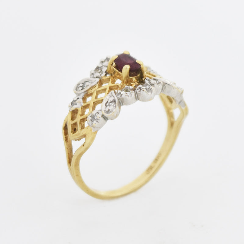 14k Yellow & White Gold Open Work Ruby/Diamond Ring Size 6.5