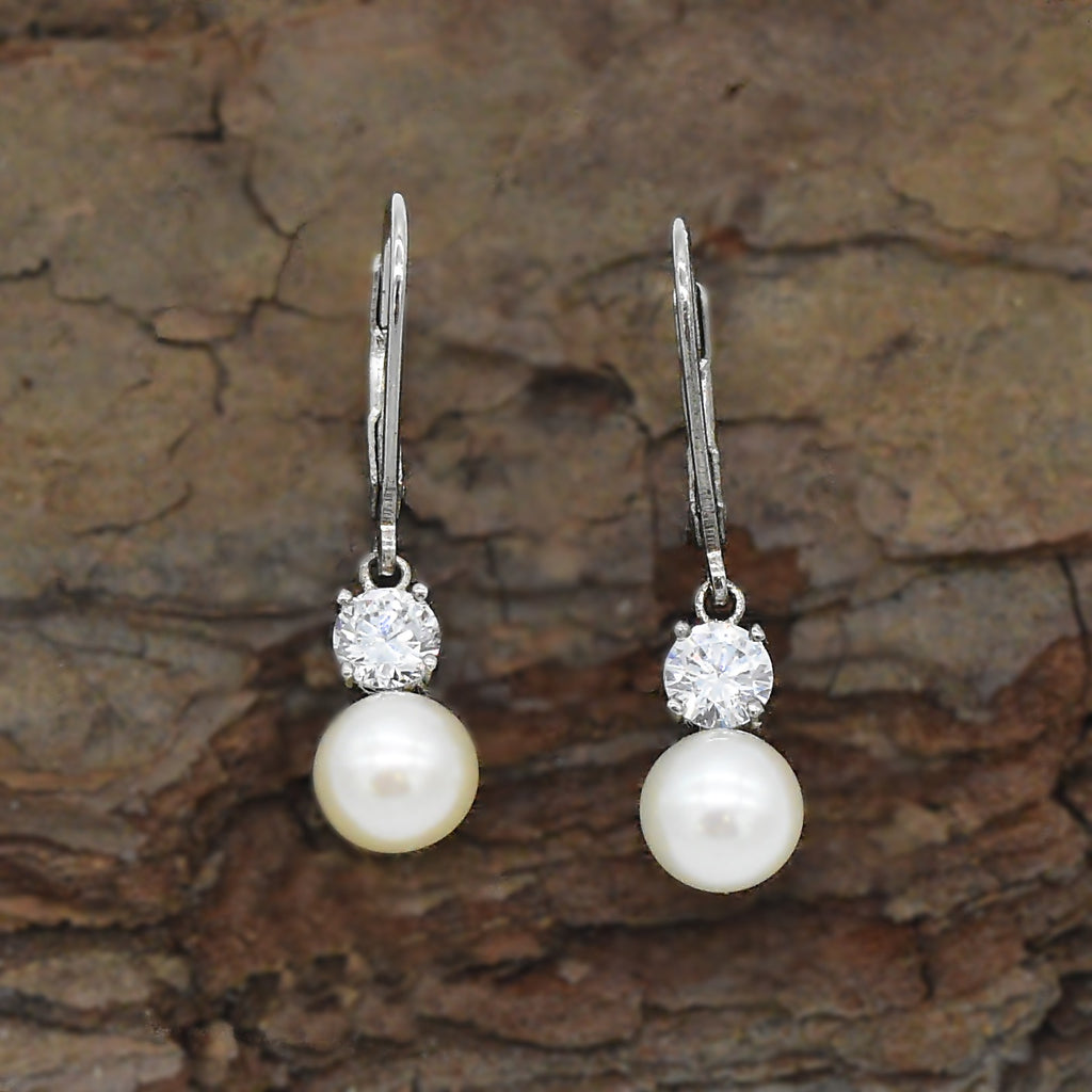 New Sterling Silver 925 EPIPHANY Diamonique & Pearl Leverback Earrings