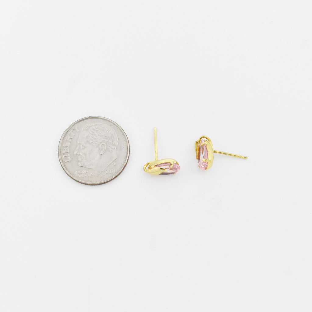 14k Yellow Gold Estate Pink CZ Leaf Post Earrings